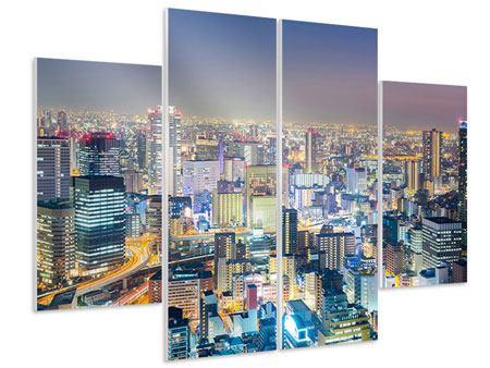 Hartschaumbild 4-teilig Skyline Osaka bei Sonnenuntergang