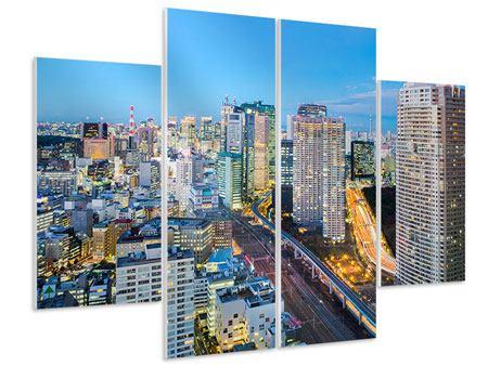 Hartschaumbild 4-teilig Skyline Tokio im Lichtermeer