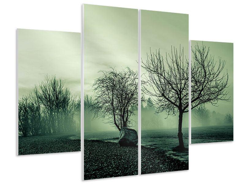 Hartschaumbild 4-teilig Der Auwald im Nebel