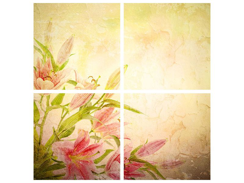 Hartschaumbild 4-teilig Lilien-Gemälde