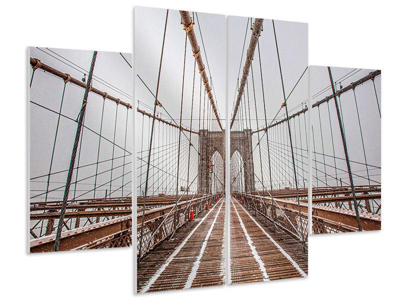 Hartschaumbild 4-teilig Auf der Brooklyn Bridge