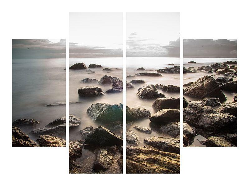 Hartschaumbild 4-teilig Steine am Strand