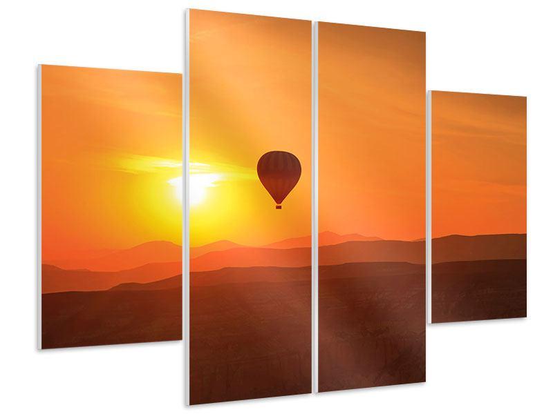Hartschaumbild 4-teilig Heissluftballon bei Sonnenuntergang