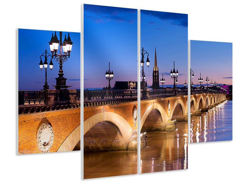 Hartschaumbild 4-teilig Pont De Pierre bei Sonnenuntergang