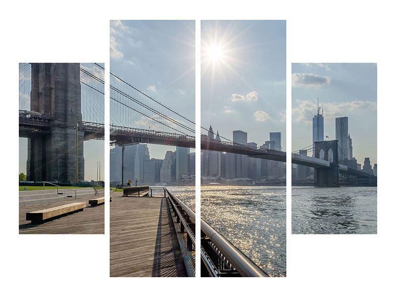 Hartschaumbild 4-teilig Brooklyn Bridge