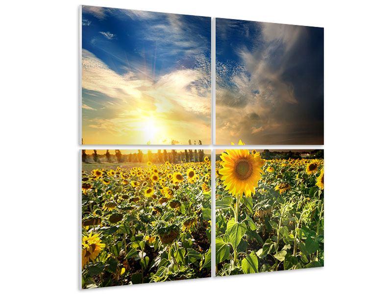 Hartschaumbild 4-teilig Sunny Flowers