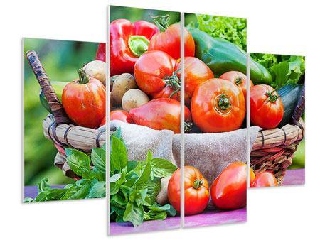 Hartschaumbild 4-teilig Gemüsekorb