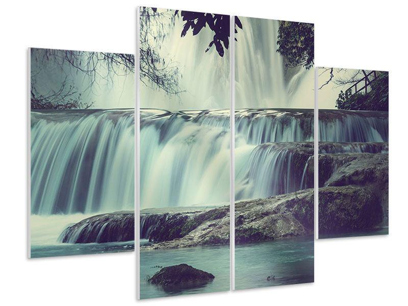 Hartschaumbild 4-teilig Wasserfall Mexiko