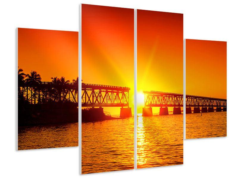 Hartschaumbild 4-teilig Sonnenuntergang an der Brücke