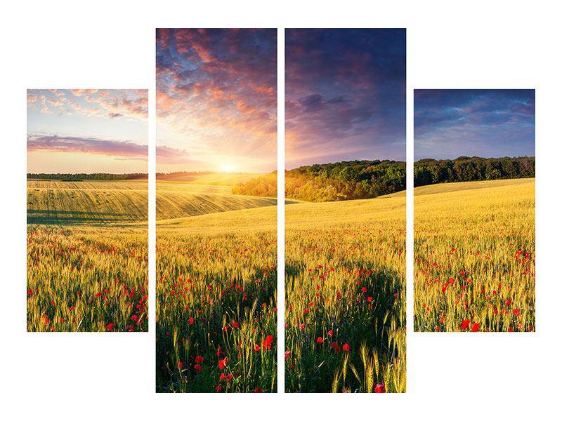 Hartschaumbild 4-teilig Ein Blumenfeld bei Sonnenaufgang