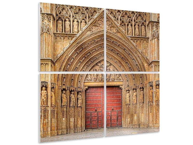 Hartschaumbild 4-teilig Kathedrale von Valencia