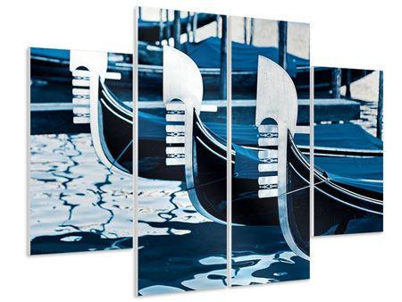 Hartschaumbild 4-teilig Gondeln in Venedig