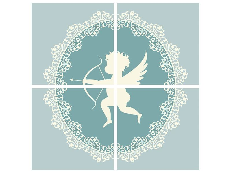 Hartschaumbild 4-teilig Engel Amore