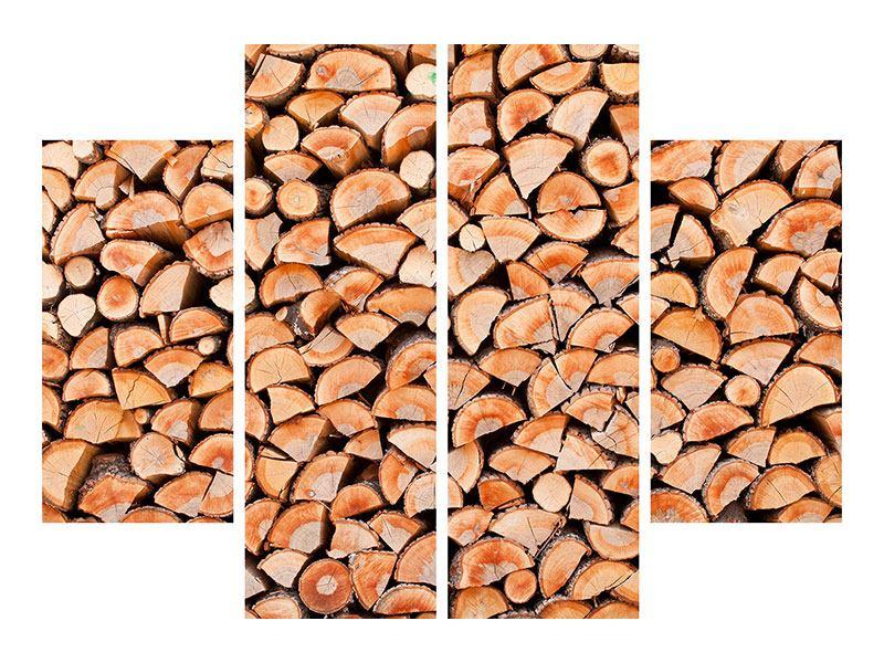 Hartschaumbild 4-teilig Birkenstapel