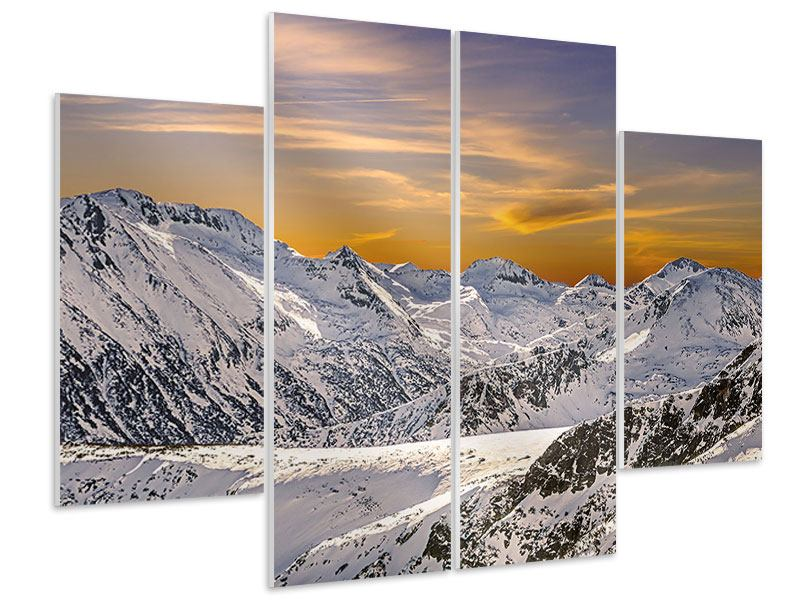 Hartschaumbild 4-teilig Sonnenuntergang in den Bergen