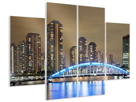 Hartschaumbild 4-teilig Skyline Tokio in der Nacht