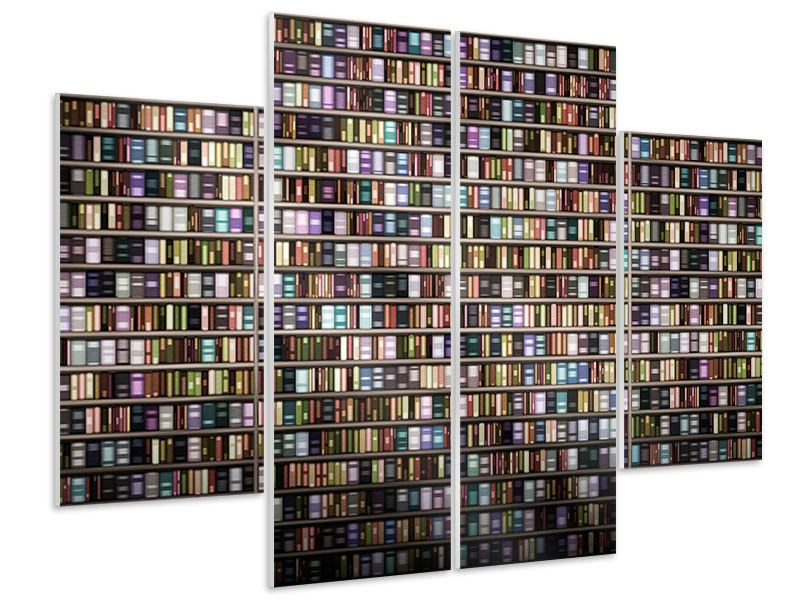 Hartschaumbild 4-teilig Bücherregal