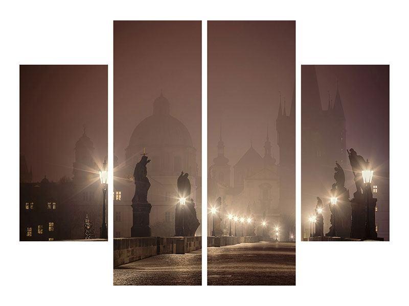 Hartschaumbild 4-teilig Die Karlsbrücke bei Nacht