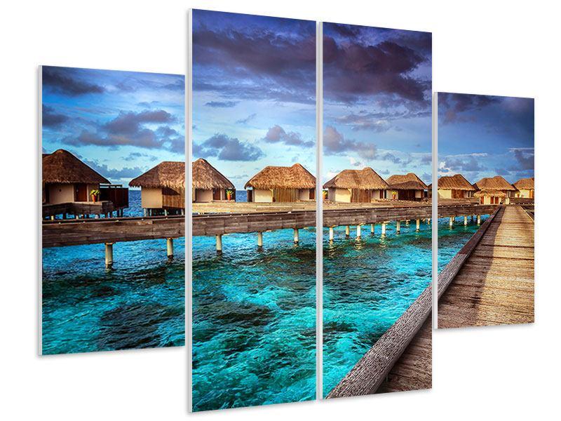 Hartschaumbild 4-teilig Traumhaus im Wasser