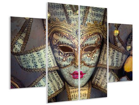 Hartschaumbild 4-teilig Venezianische Maske