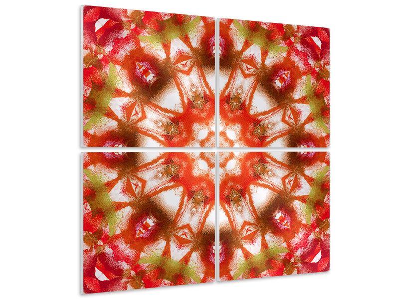 Hartschaumbild 4-teilig Geometrisches Gemälde