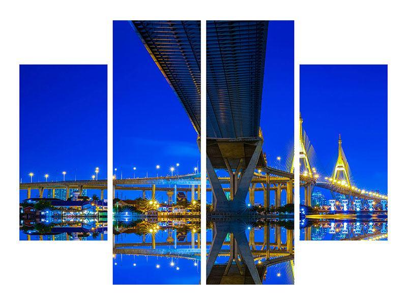 Hartschaumbild 4-teilig Bhumiboll-Brücke