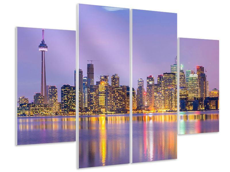 Hartschaumbild 4-teilig Skyline Toronto bei Nacht