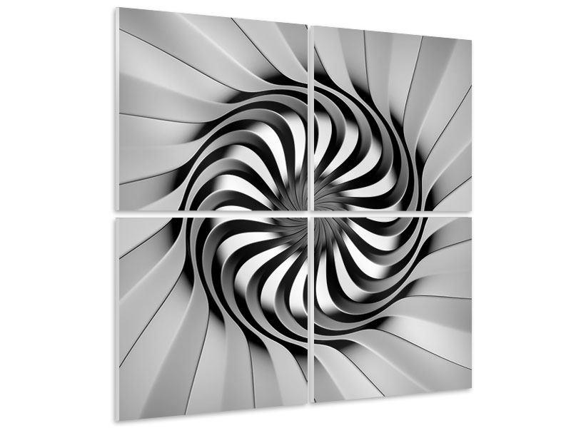 Hartschaumbild 4-teilig Abstrakte Spirale