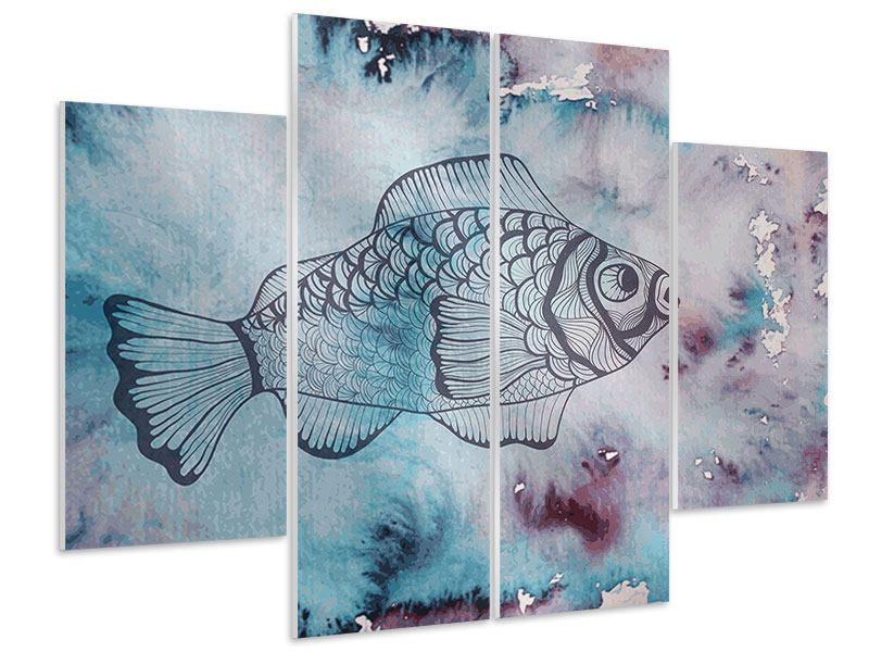 Hartschaumbild 4-teilig Fisch-Aquarell