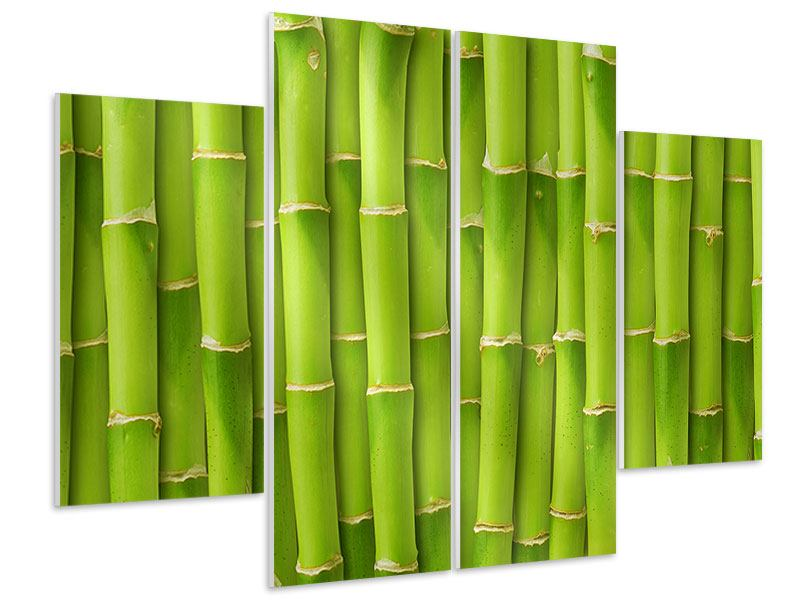 Hartschaumbild 4-teilig Bambuswand