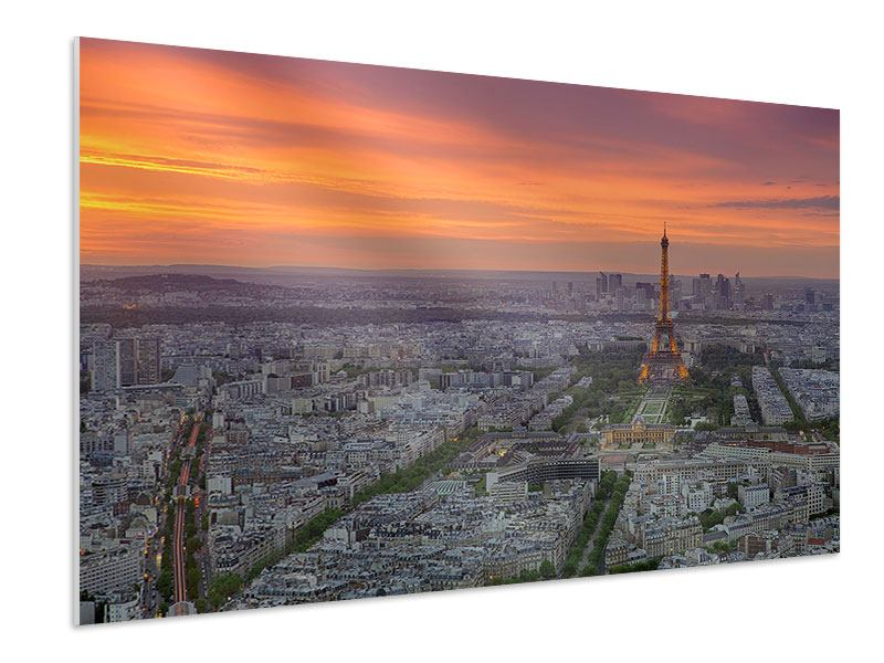 Hartschaumbild Skyline Paris bei Sonnenuntergang