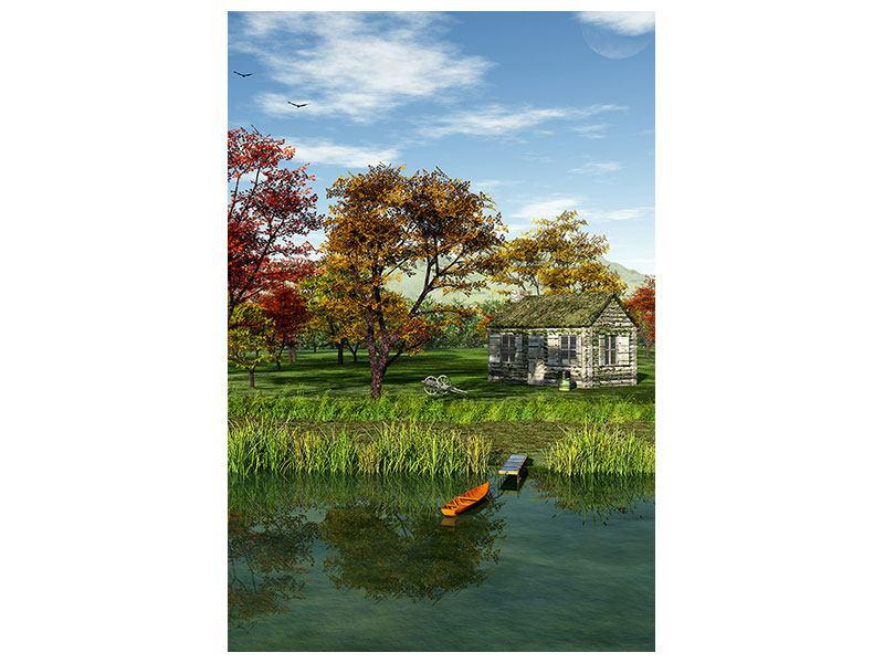 Hartschaumbild Haus am See