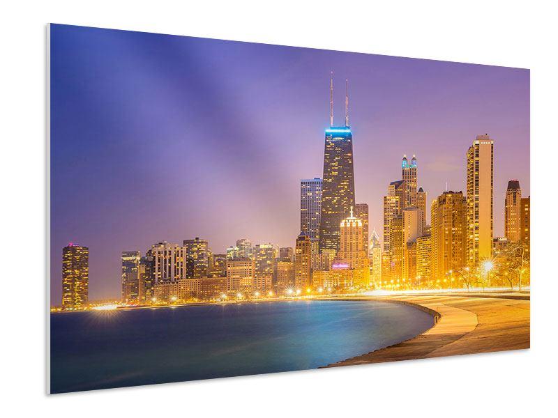 Hartschaumbild Skyline Chicago in der Nacht