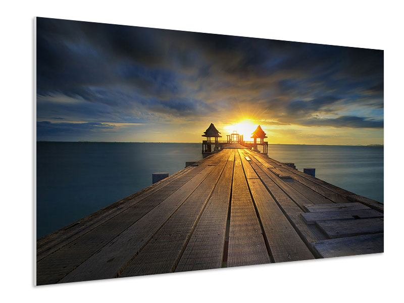Hartschaumbild Der Sonnenuntergang bei der Holzbrücke