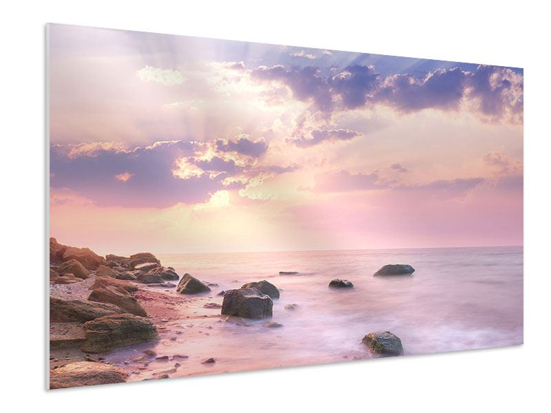 Hartschaumbild Sonnenaufgang am Meer