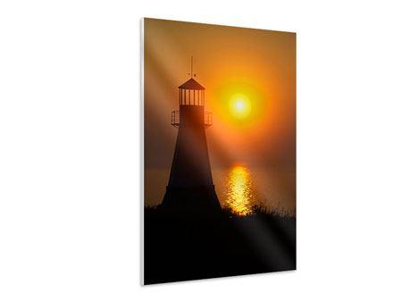 Hartschaumbild Ein Leuchtturm bei Sonnenuntergang