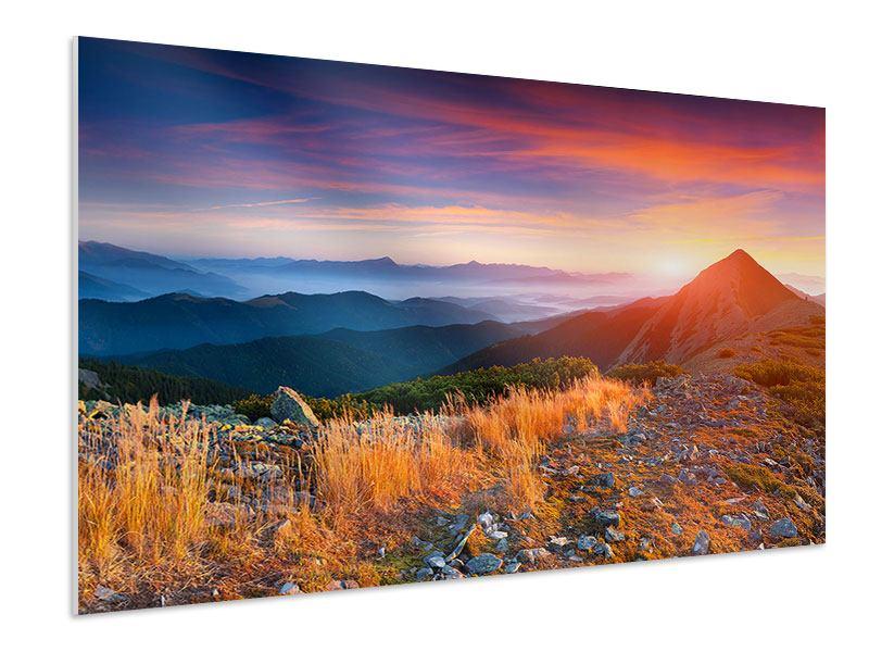 Hartschaumbild Sonnenuntergang in den Alpen