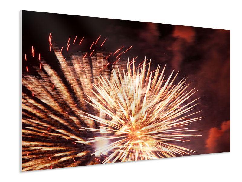 Hartschaumbild Close Up Feuerwerk