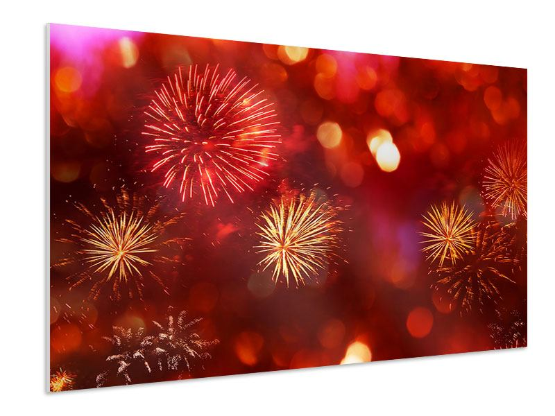 Hartschaumbild Buntes Feuerwerk