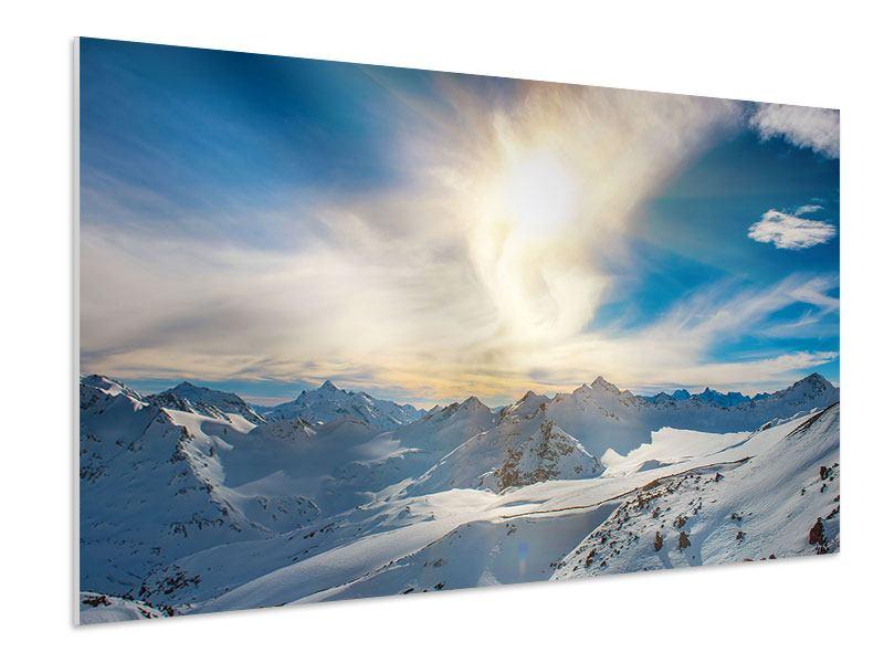 Hartschaumbild Über den verschneiten Gipfeln