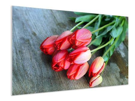 Hartschaumbild Der rote Tulpenstrauss