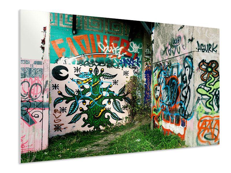 Hartschaumbild Graffiti im Hinterhof