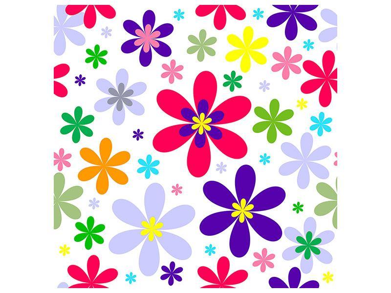 Hartschaumbild Retromode Blumen