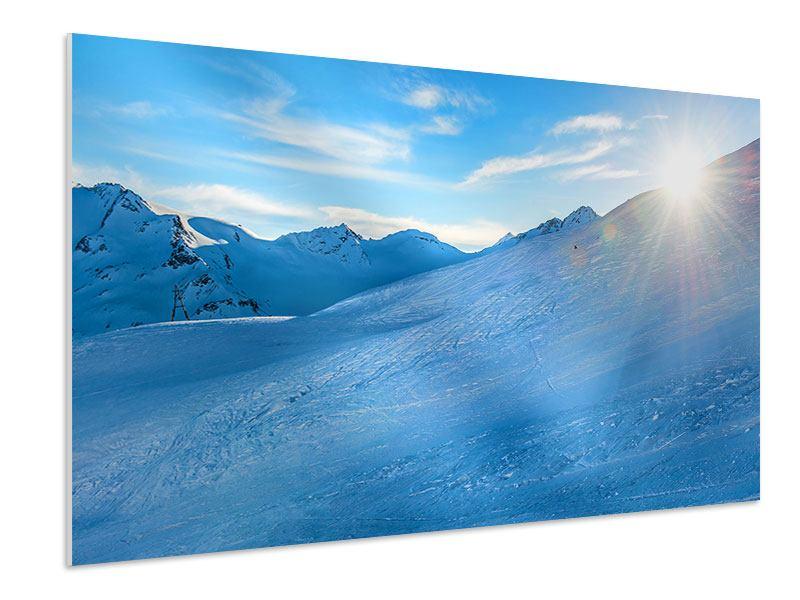 Hartschaumbild Sonnenaufgang in den Bergen