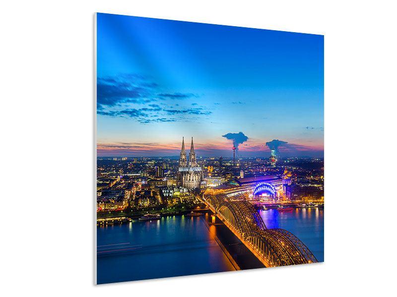 Hartschaumbild Skyline Ein Penthouse in Köln