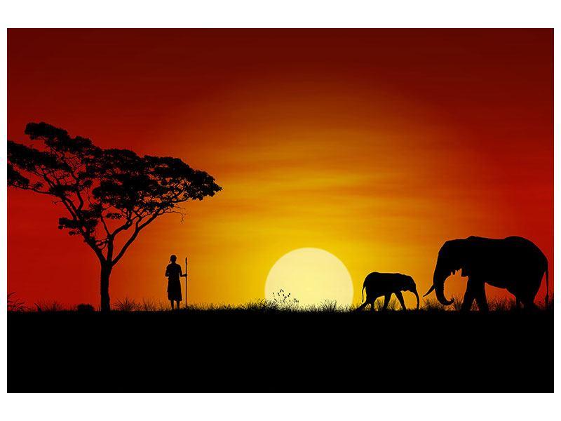 Hartschaumbild Afrikanische Steppenelefanten