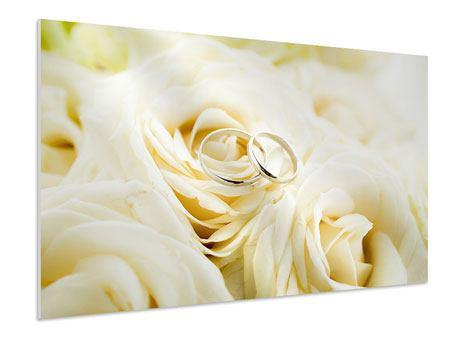Hartschaumbild Trauringe auf Rosen gebettet