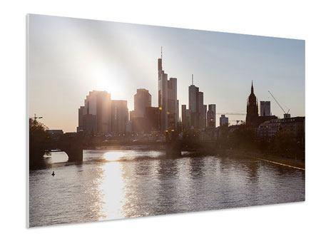 Hartschaumbild Skyline Sonnenaufgang bei Frankfurt am Main