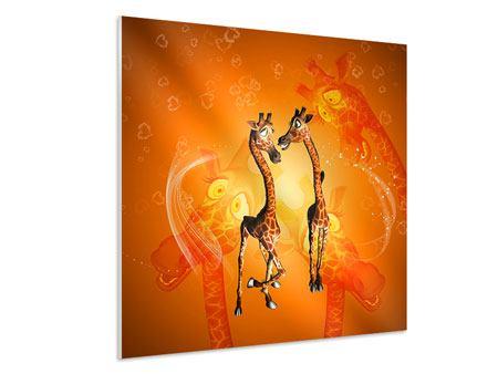 Hartschaumbild Giraffen Kinder