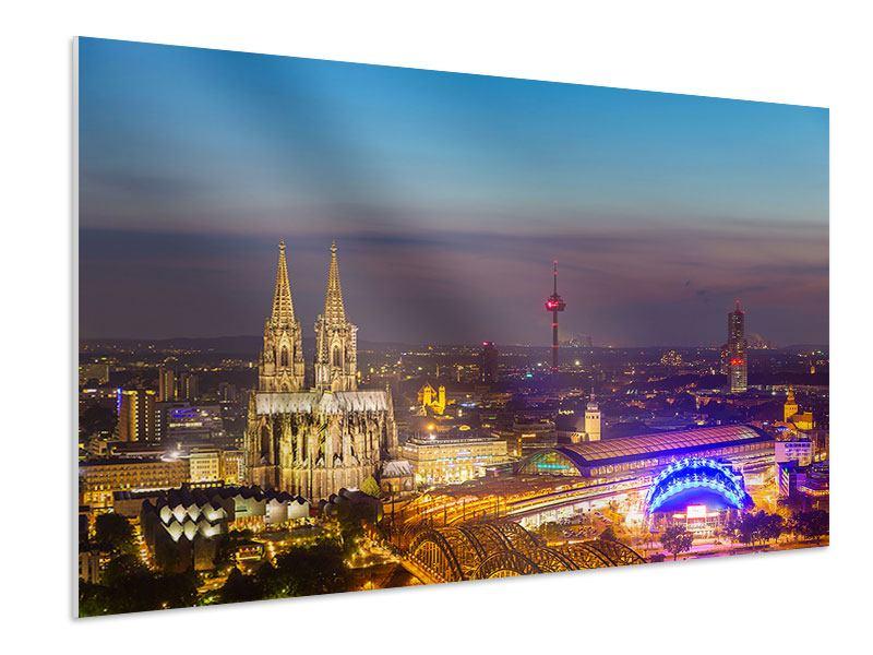 Hartschaumbild Skyline Kölner Dom bei Nacht